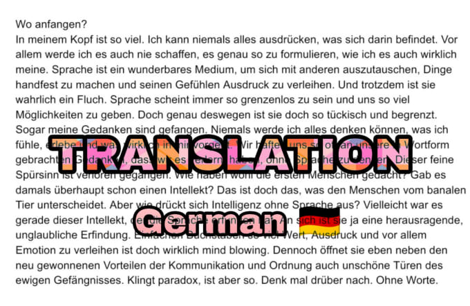 Translate Any English Text To Proper Beautiful German By Tiarasophie