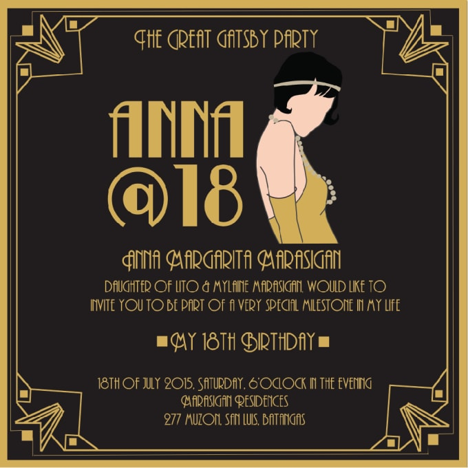 maeannelizabeth : I will the great gatsby theme party invitation for $5 on  www fiverr com