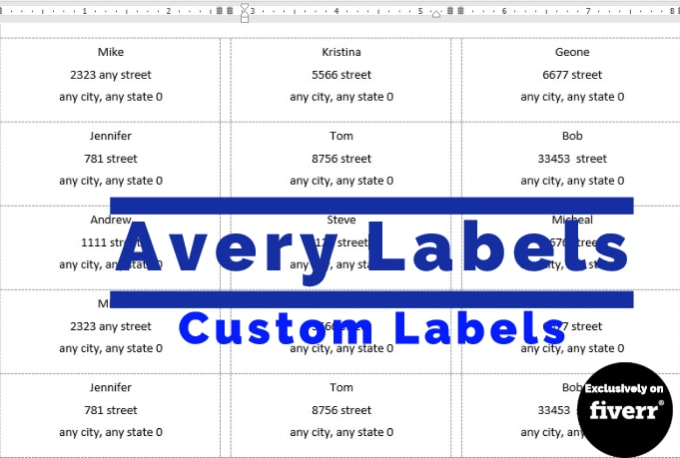 adilkhankhalil1 : I will create avery labels for mail merge in 24 hours for  $5 on www fiverr com
