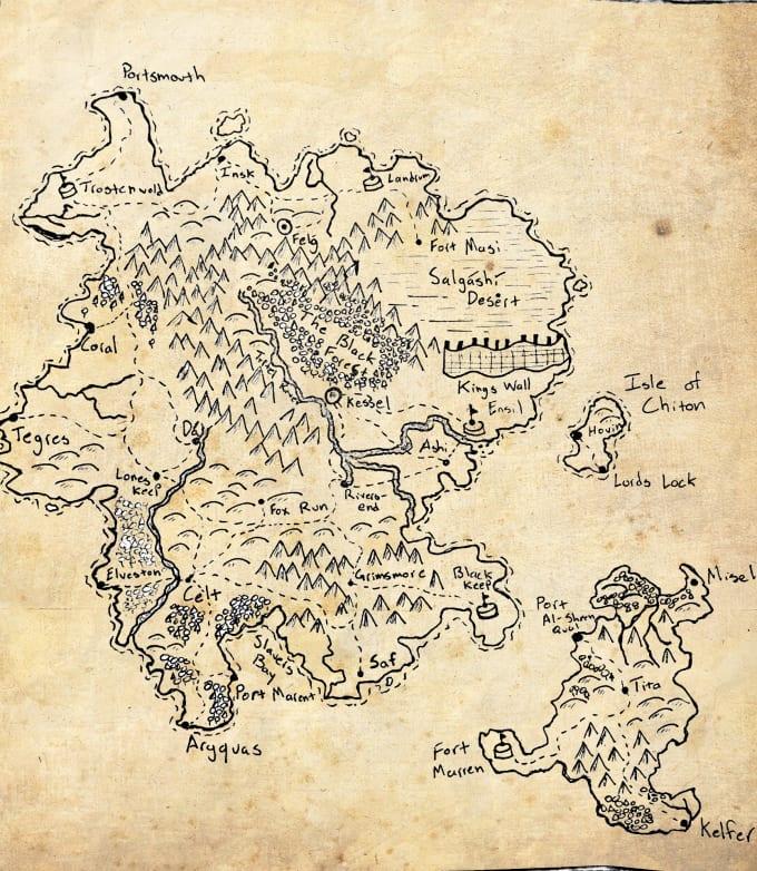 create a custom hand drawn fantasy world map