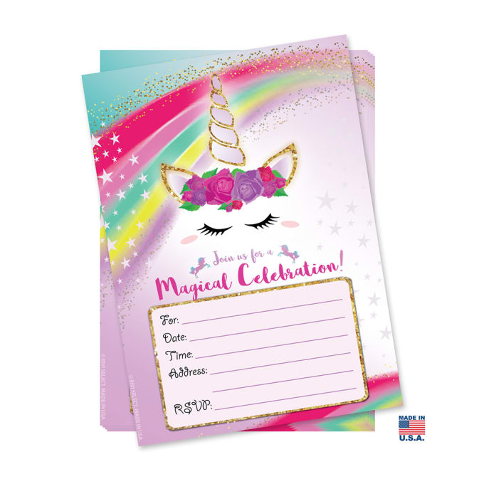 I Will Send You 12 Unicorn Birthday Party Invitations And Envelopes