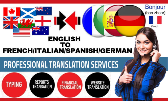 do manually english to german, french, italian and spanish translation