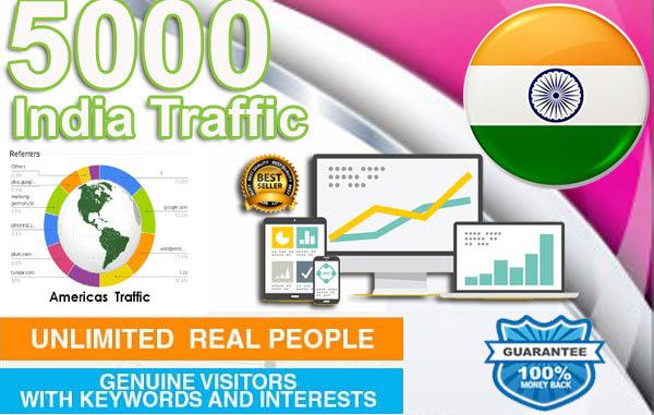 send 5,000 india targeted organic human search engine traffic
