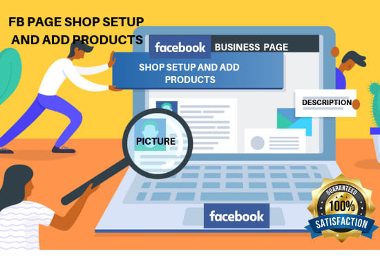 setup facebook shop and add products, manage business page