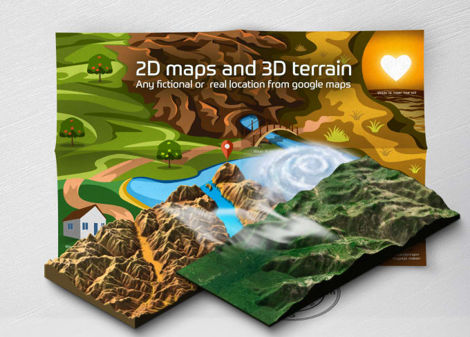 draw a 2d or 3d map and 3d terrain real google maps location