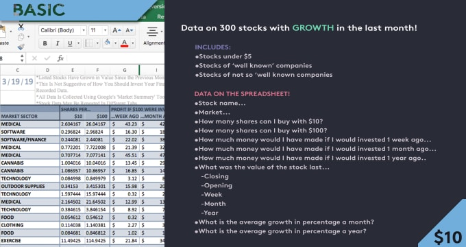 send you a spreadsheet of stocks which have grown in the last month