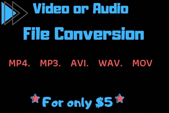 sheldonbaker80 : I will convert your audio or video files to wav,mp3, m4a,  mov, mp4, wma for $5 on www fiverr com