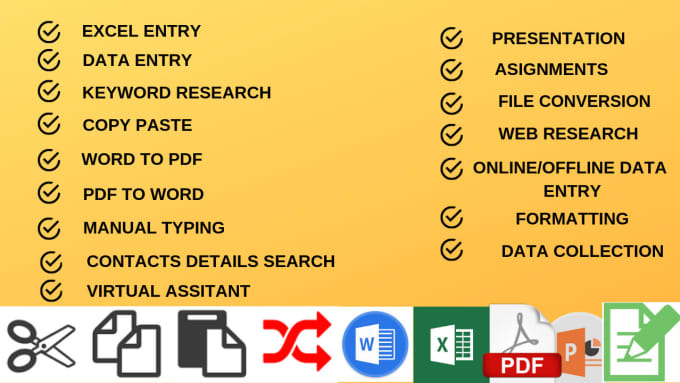 excel data entry,data mining,data collection,copy paste,typing and virtual  assis