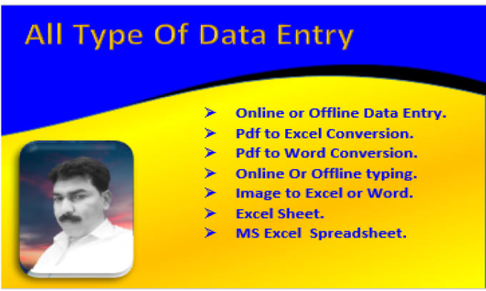 zafar2083 : I will all type of data entry excel,word,pdf to excel,pdf to  word for $5 on www fiverr com