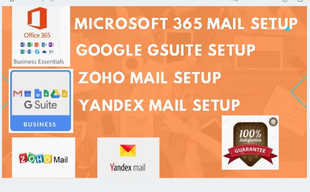 setup google gsuite zoho yandex domain email accounts in few hours