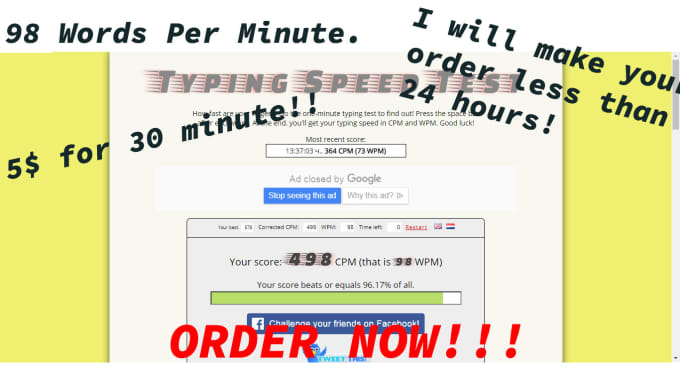 do fast typing job, within 24 hours 98 words per minute