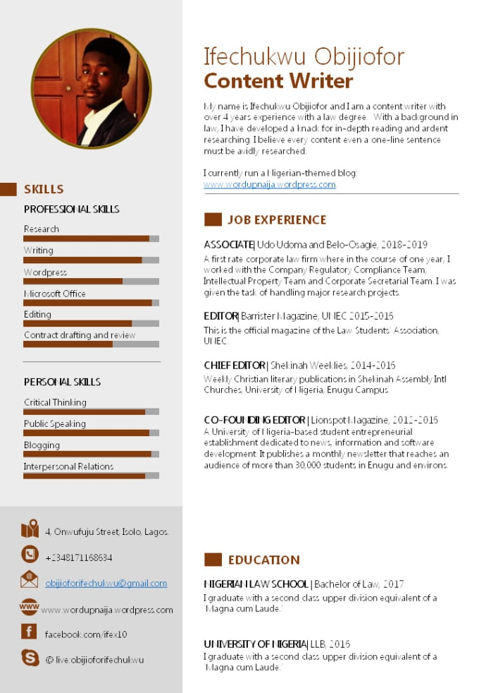 Provide a professional cv resume and cover letter by Ifeobi