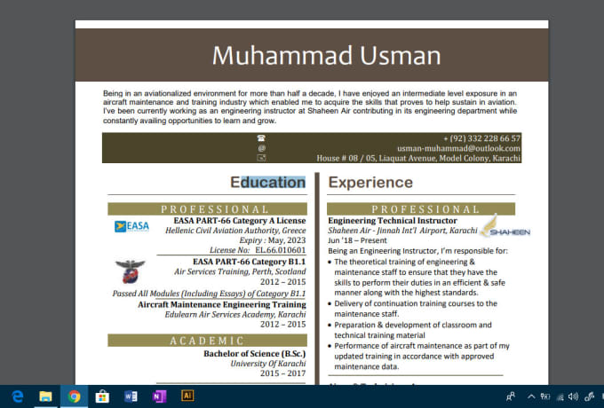 usmanmuhammad13 : I will make your resume look like specifically made for  you for $15 on www fiverr com