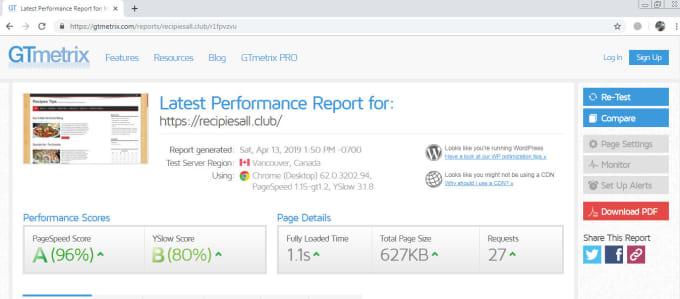 wordpress speed optimization in gt metrix green to gain SEO