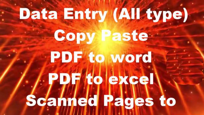 online, offiline typing work, PDF to word, excel retype