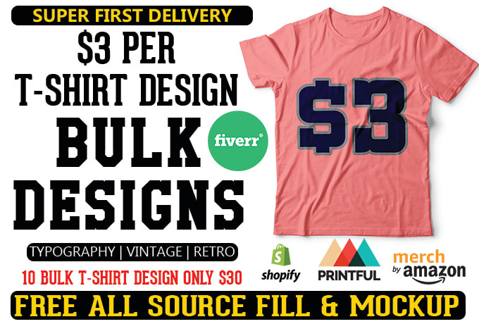 cbc811a0ed1 Do bulk tshirt designs for amazon or pod business by Ashikmore1