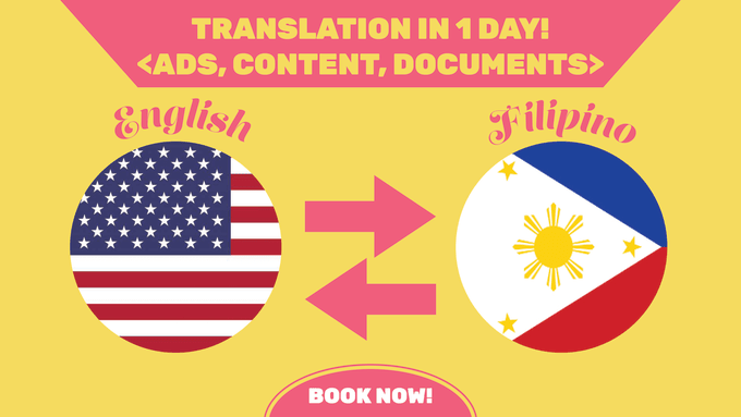 nashalbacea : I will translate copy from english to filipino and vice versa  for $5 on www fiverr com