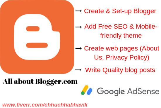 do google blogger site setup with blog article writing