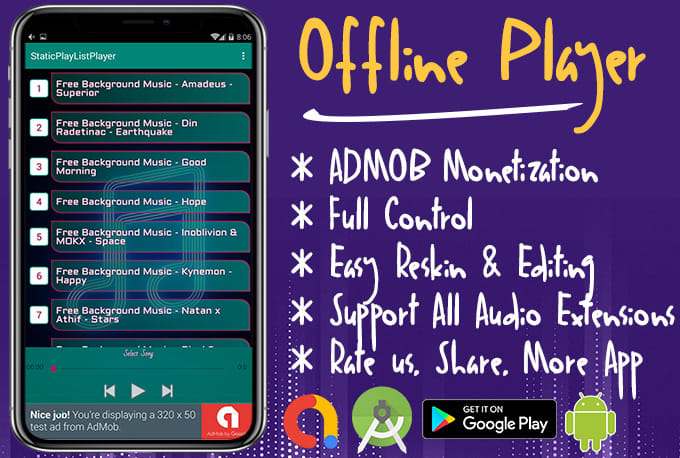 give you android mp3 music audio player offline application