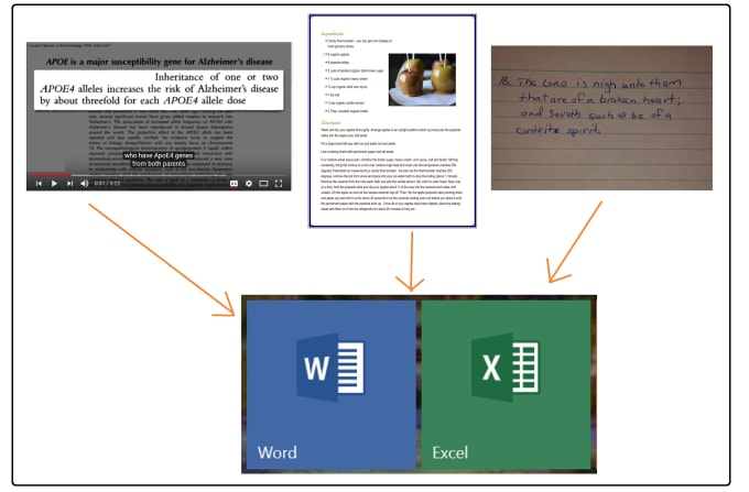 transcribe text from images or video into word or excel