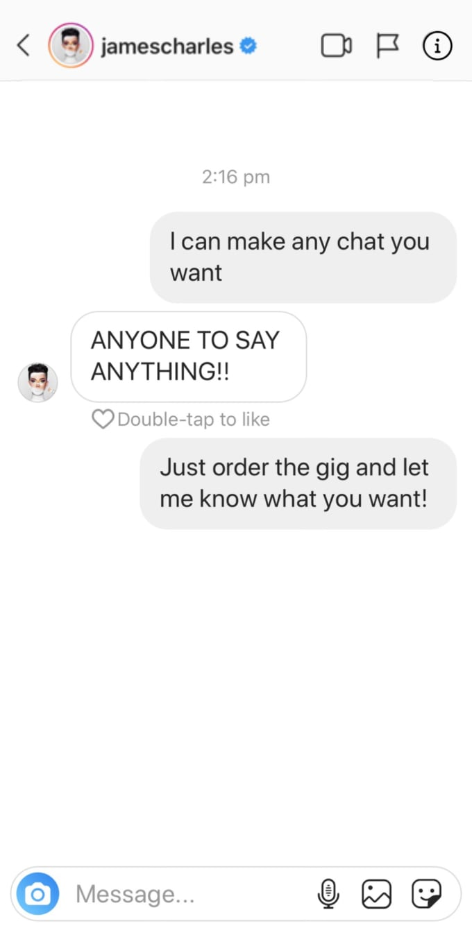 bobsterplays : I will fake any celebrity instagram dm for $5 on  www fiverr com