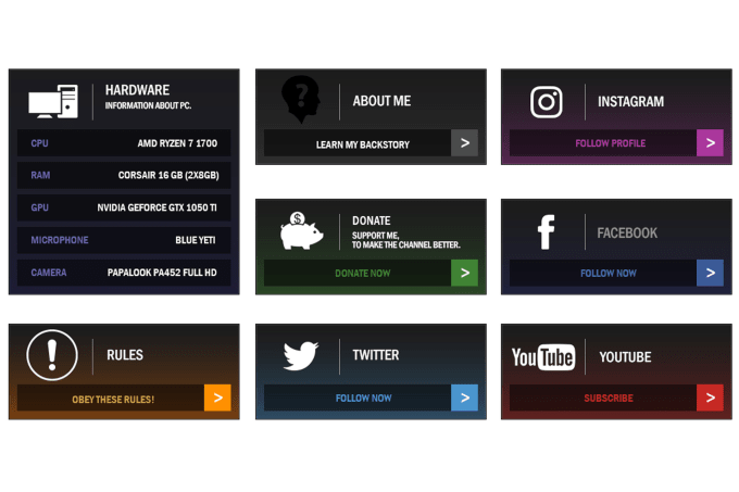 xdrustic : I will create twitch tv panels and texts links for $20 on  www fiverr com