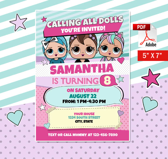codedwireprints : I will make a lol dolls birthday party invitation for $5  on www fiverr com