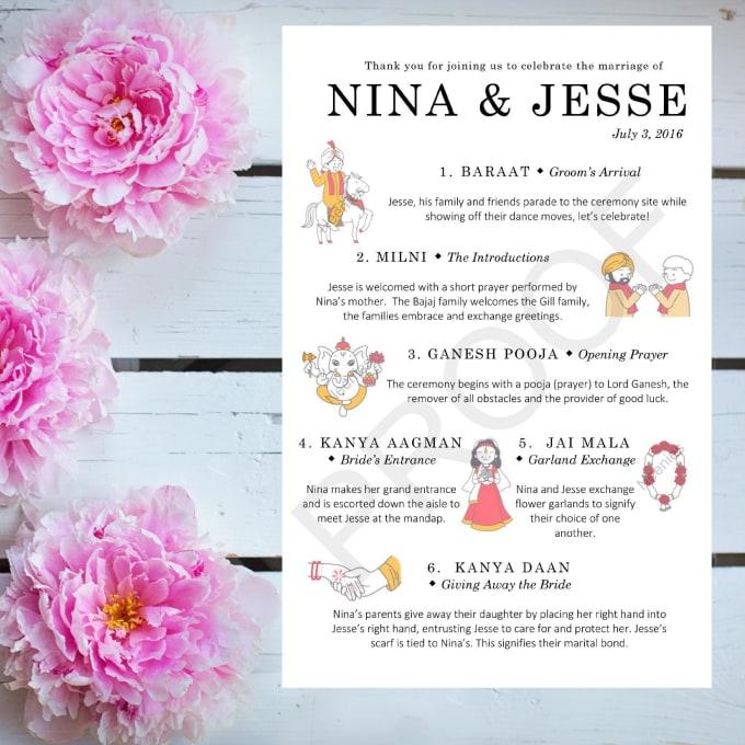 Make A Custom Hindu Wedding Ceremony Program By Ninabajaj