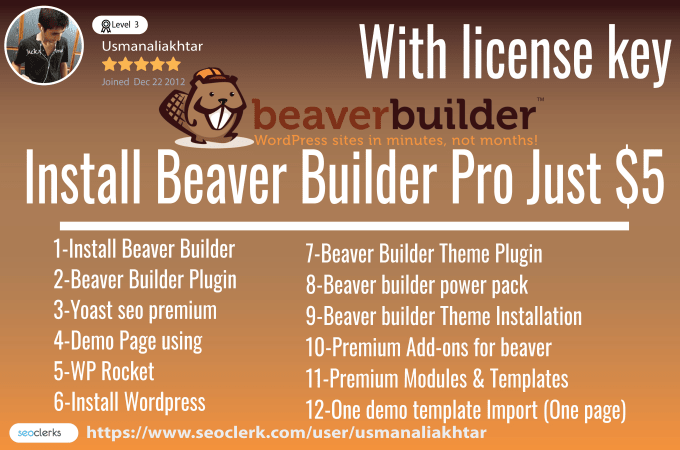 gigbookmarking : I will install beaver builder pro with ultimate addons  with key for $5 on www fiverr com