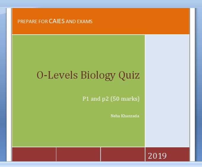 nehauk : I will design difficult most quiz of olevels biology for $50 on  www fiverr com