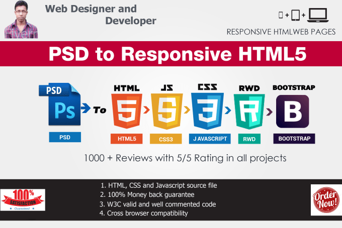 convert psd to html, sketch to html responsive bootstrap 4