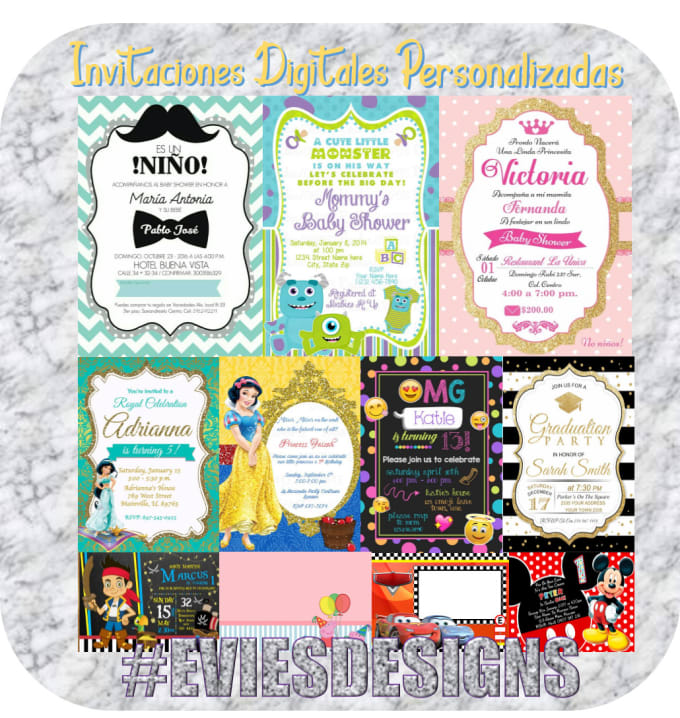 Estefanieegv I Will Design For You Birthday Party Invitation Cards For 5 On Www Fiverr Com