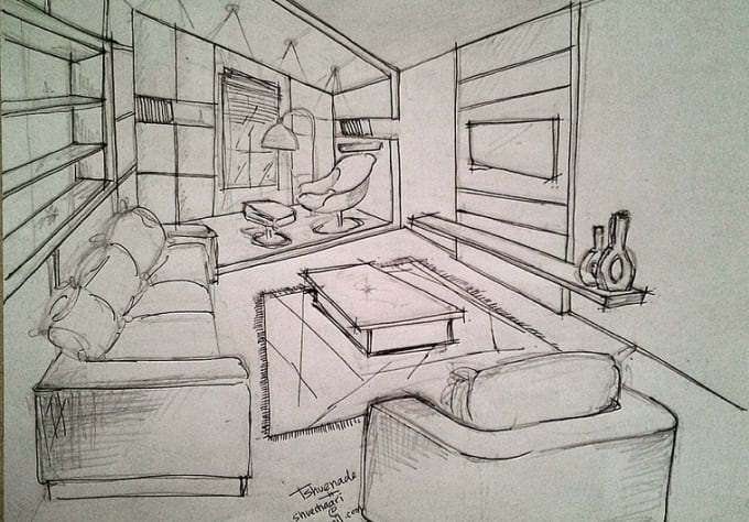 Draw A Sketch For Your Home Interior Space By Tshuenade