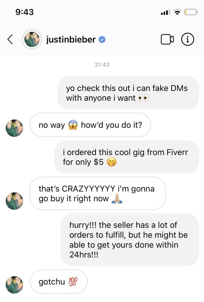 fake instagram direct messages