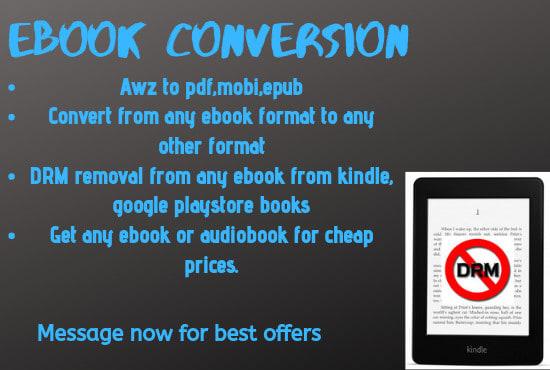 convert amazon drm awz files to pdf epub