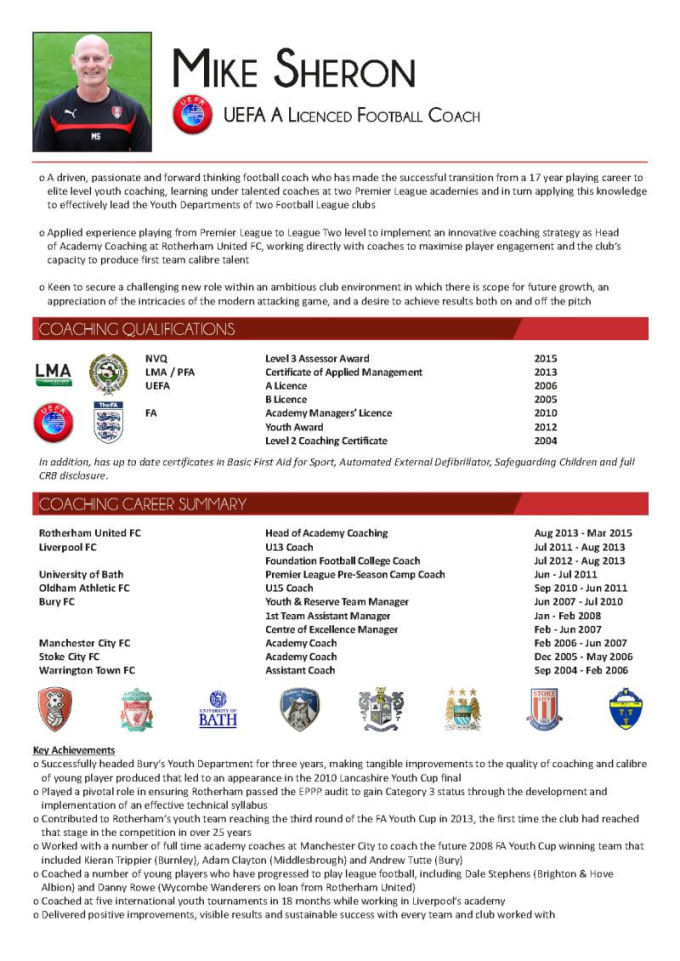 attract professional football coaches with a unique football CV