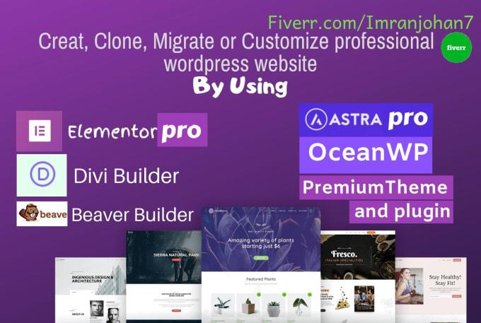 create wordpress website using elementor pro, divi or beaver