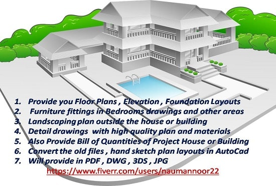 naumannoor22 : I will design civil 2d architecture drawing plan elevation  autocad for $10 on www fiverr com