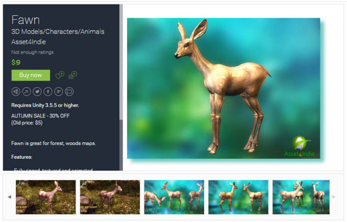unity assets animation animal fawn