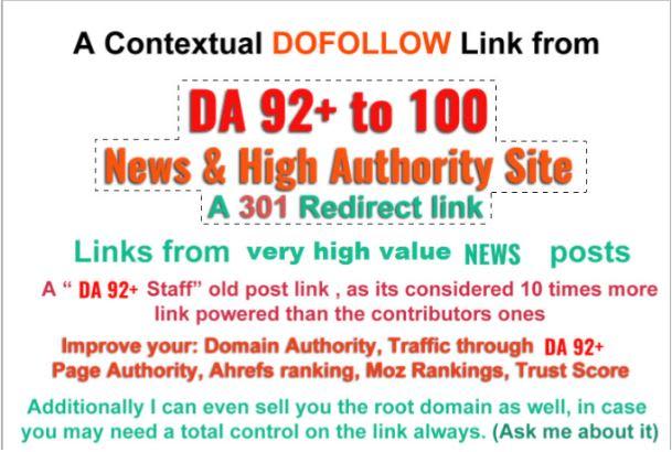 create dofollow 301 redirect backlink on da 92 plus sites, highest