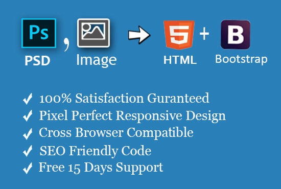 convert psd,jpg,png to html bootstrap 4 responsive