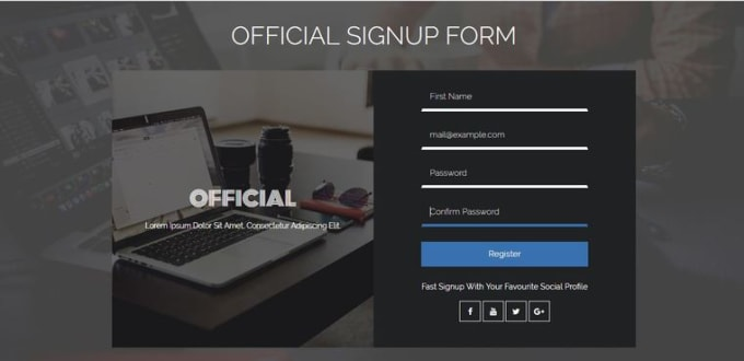create HTML form,web form and css form