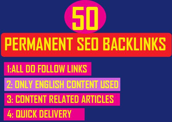 get you 50 permanent dofollow SEO backlinks