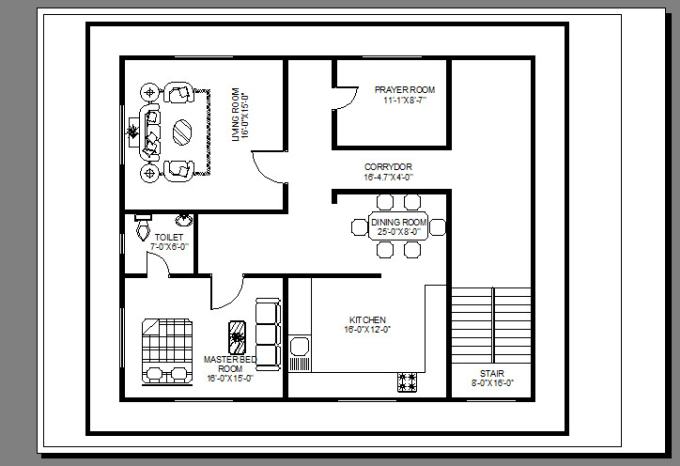 Draw 2d floor plan with autocad by