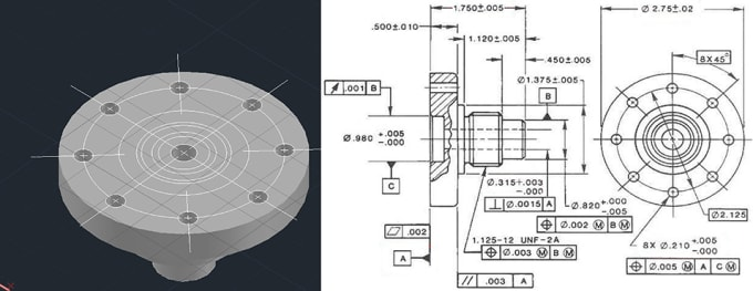 do 3d and 2d print design, cad design in cad and fusion 360