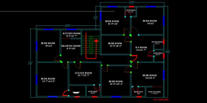 Rendering Floor Plan Auto Cad