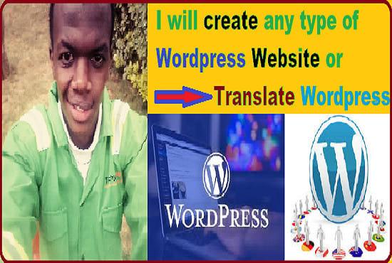 create wordpress website any language or translate wordpress