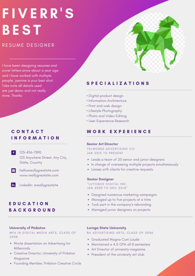 create a sleek resume and cover letter