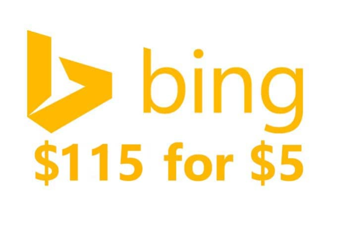 give 1 x 115 USD bing ads coupon