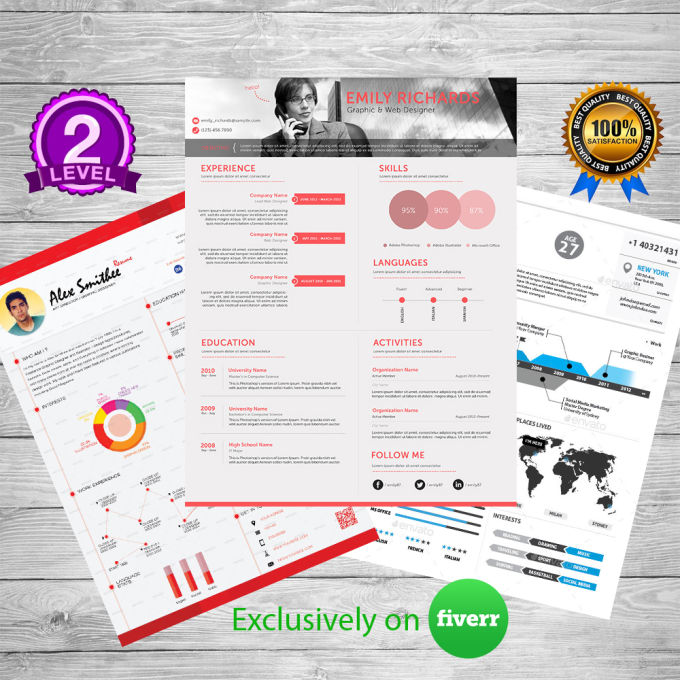 Fiverr Resume | Make Amazing Infographic Resume Graphical Cv By Shahrozhassan